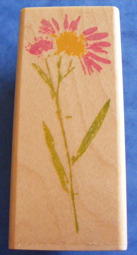 NEW Rubber Stampede  Daisy Stem  2873E Wooded Backed Rubber Stamp