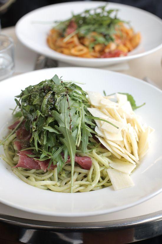 favorite pasta. arugula, pesto, prosciutto, parmesan