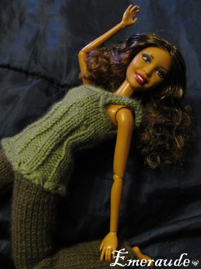 Tricot: Ensemble n°3 (pantalon et top) pour Barbie