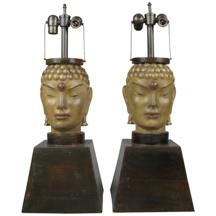 Pair of 1940s Buddha Lamps Attributed to James Mont | From a unique collection of antique and modern table lamps at https://www.1stdibs.com/furniture/lighting/table-lamps/
