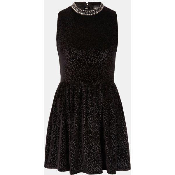 Topshop Stud Necklace Devore Velvet Dress ($84) ❤ liked on Polyvore