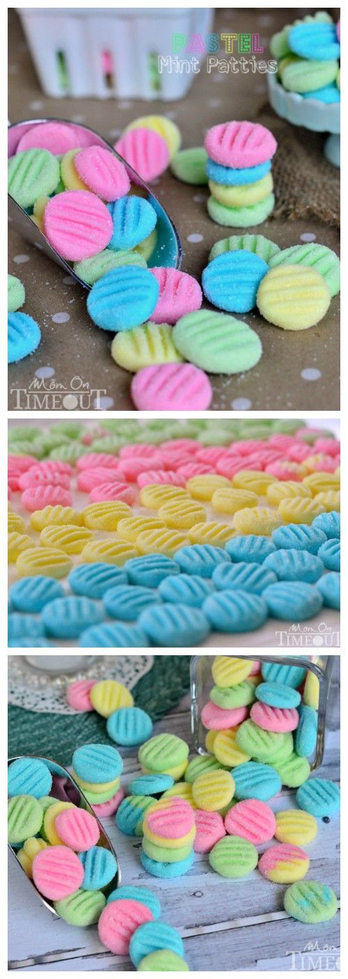Pastel Mint Patties  April 7, 2014 · by Trish - Mom On Timeout · 40 Comments    Pretty Pastel Mint Patties are perfect for Easter and spring time! These mints take just minutes to make and the kiddos can help too!  PIN IT NOW!    Let's be friends! Sign up to get my new recipes in your inbox! Follow me on Facebook too!    Pretty Pastel Mint Patties are perfect for Easter and Spring! | MomOnTimeout.com  PIN FOR LATER!    A lot of people have asked which food colors I used for these patties…so…