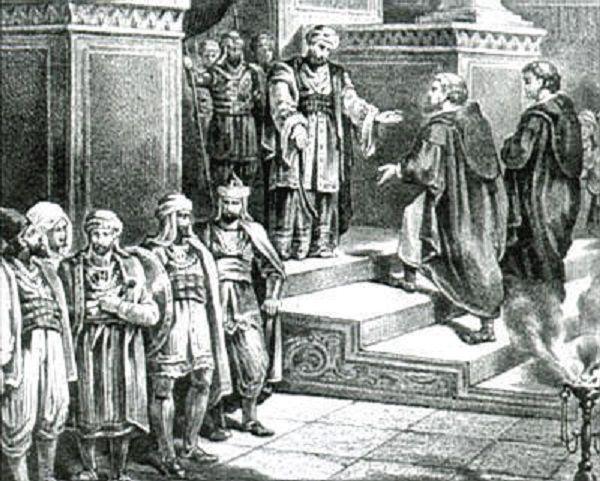 Le calife Omeyyade Abd al-Rahman III de Cordoue reçois une Ambassade  chrétienne