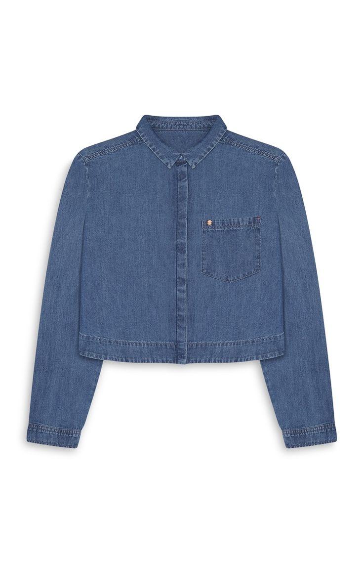 Primark - Camisa de ganga curta azul índigo