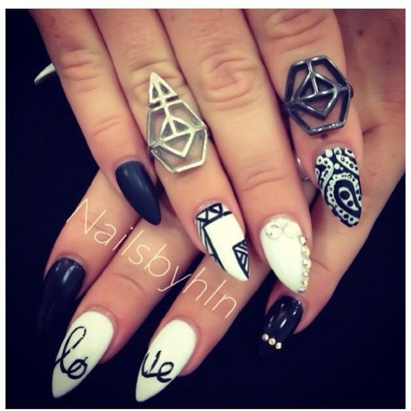Black and white Aztec stiletto nails Nails. featuring polyvore beauty products nail care nail treatments nails