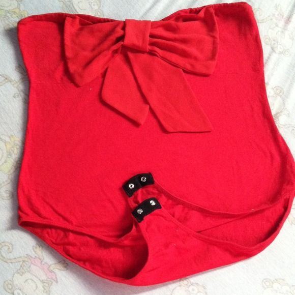 Red Leotard Bow Shirt 🎀 This is a cherry red, 100% polyester blend leotard shirt.  It is buttoned at the bottom, absolutely new, been washed once and I found out that it did not fit my torso.  Has a small hole (like from a pin) at the bottom, where my puppies caught it as I took the picture.  Thanks for looking, happy shopping! 😊 Tops
