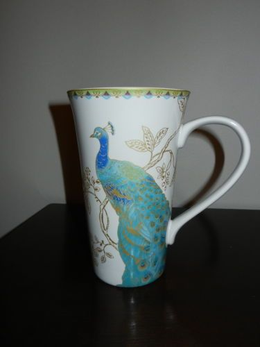 222 Fifth Garden Peacock Tall Latte/Coffee Mugs - Fine China - Set of 2