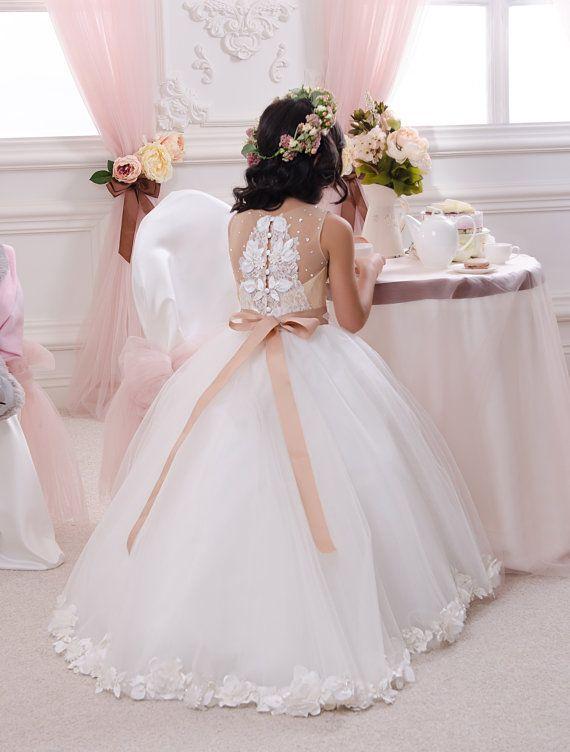 Ivory and Beige Flower Girl Dress Wedding by Butterflydressua