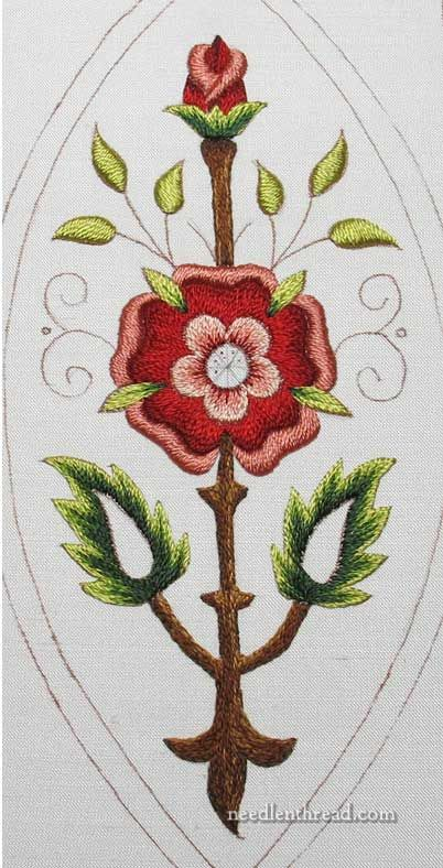 Mission Rose project - silk embroidery finished. Goldwork to come!