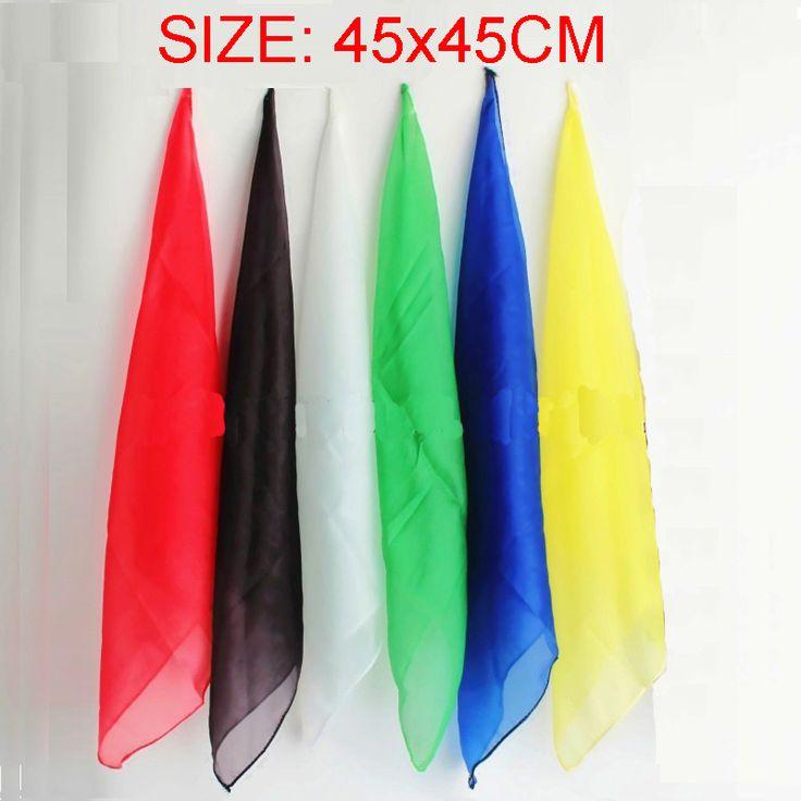 6pcs/lot 45*45cm Magic Silk Change Color Silk Scarf Multicolor ultra-thin Scarves Magic Tricks for Stage Close Up Magic Props #Affiliate