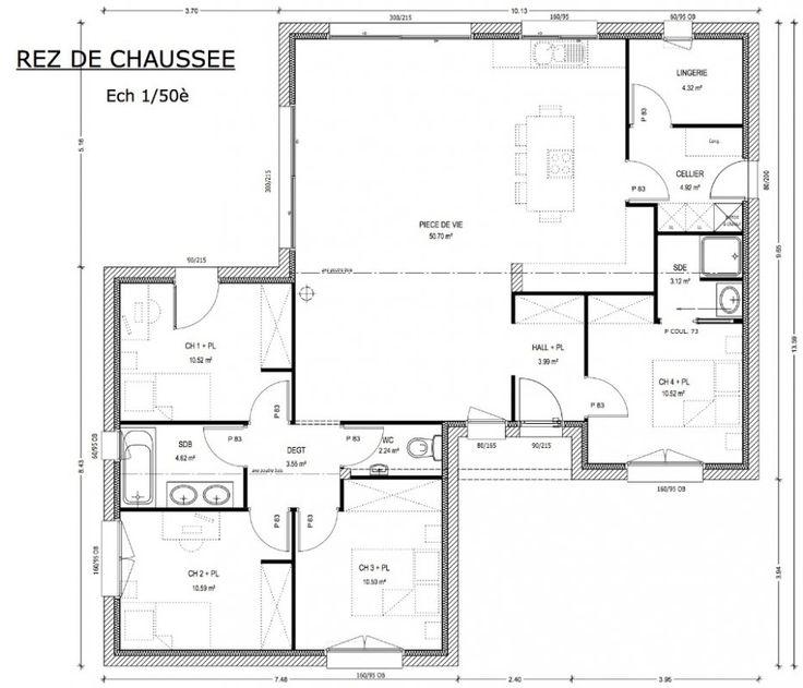 Préférence Les 25 meilleures idées de la catégorie Plan maison 4 chambres sur  AU41