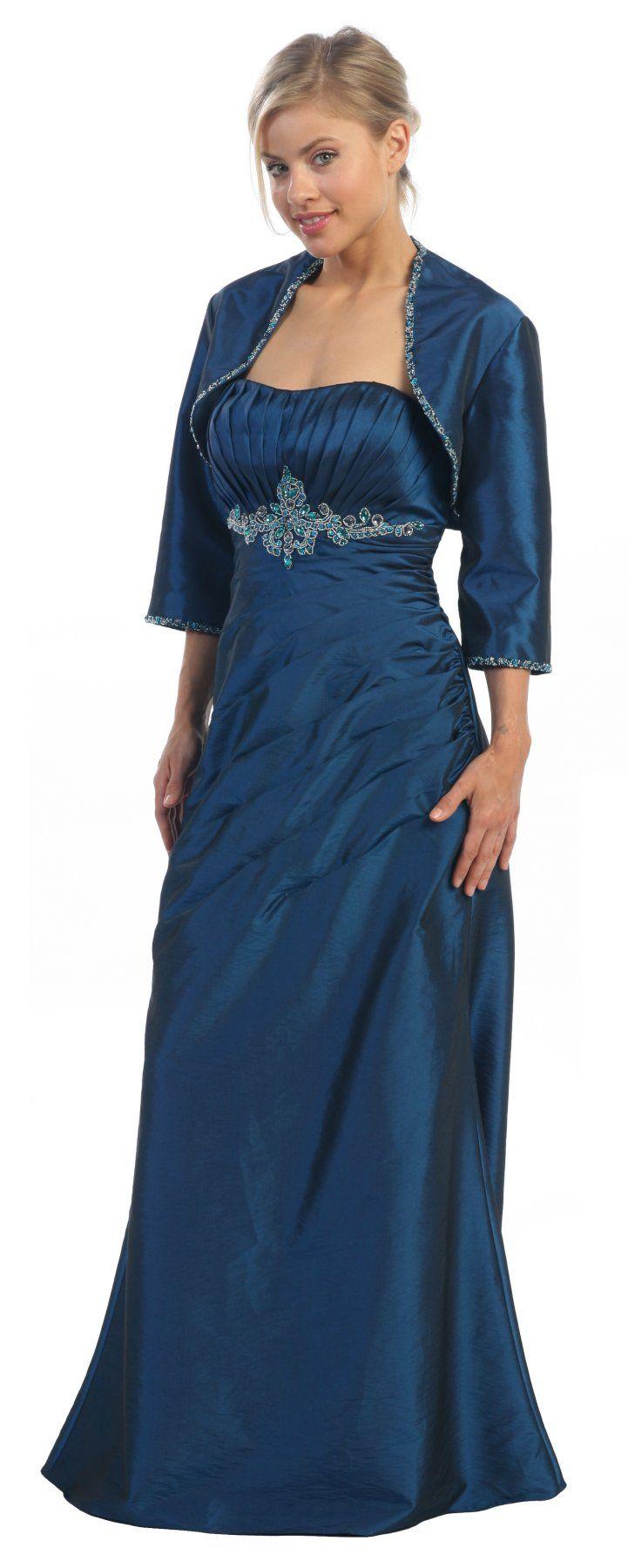 Strapless Royal Blue Teal Mother Bride Dress Mid Length