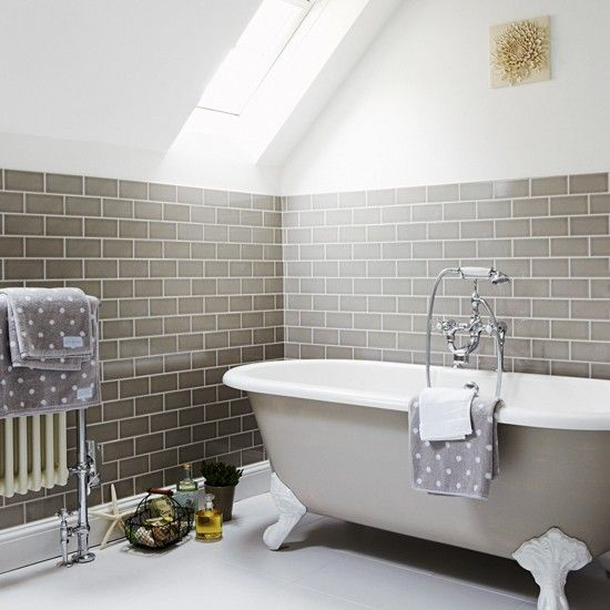 Neutral bathroom with metro tiles | Small-space bathroom ideas | Bathroom | PHOTO GALLERY | Housetohome.co.uk
