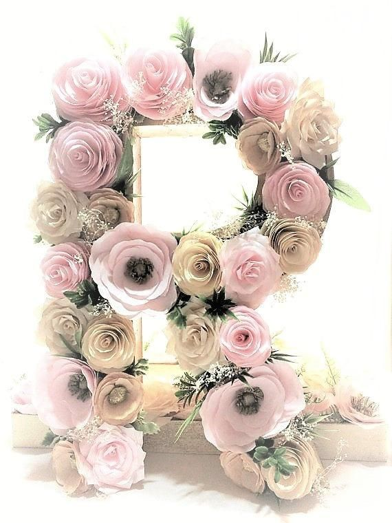 Floral Letter In Blush Ivory And Gold Paper Flowers