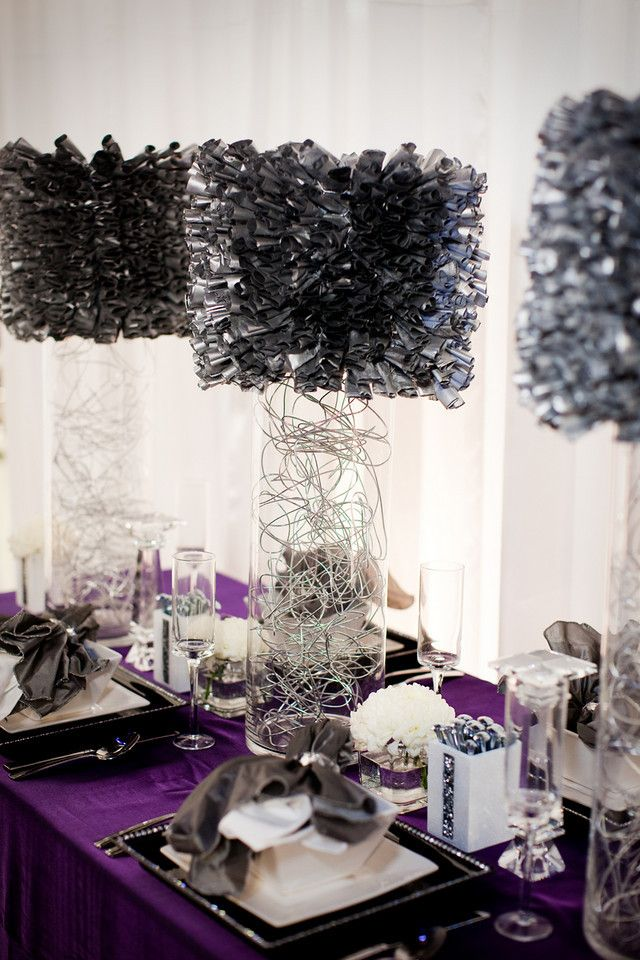 Purple diy wedding entertaining table centerpieces for Diy wedding table decorations