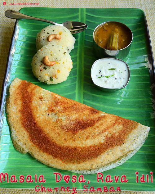 South indian breakfast idea with rava idli, masala dosa, sambar and chutney!