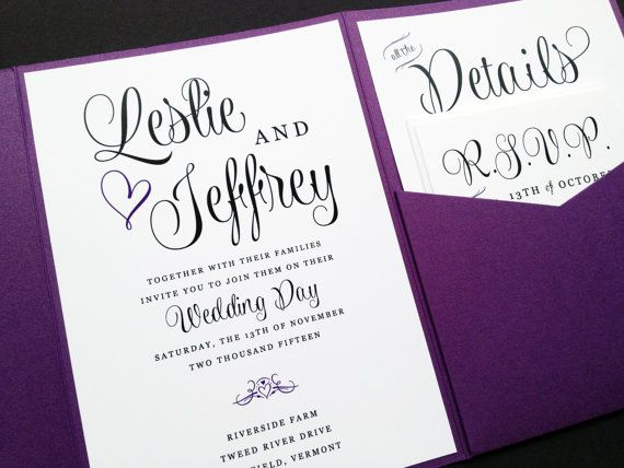 pocket wedding invitations purple wedding invitation lavender wedding invitation 6699