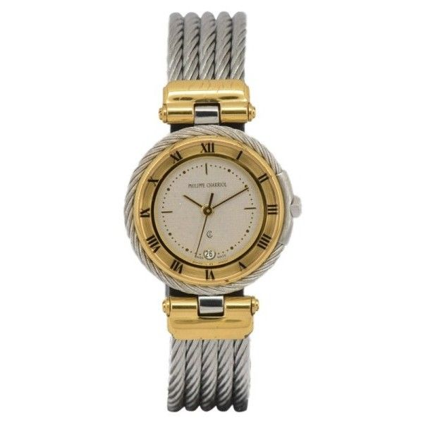 Pre-owned Philippe Charriol Cable Celtic Stainless Steel & Gold Plated... (5.065.580 IDR) ❤ liked on Polyvore featuring jewelry, watches, gold plated jewellery, crown jewelry, gold plated watches, stainless steel celtic jewelry and dial watches
