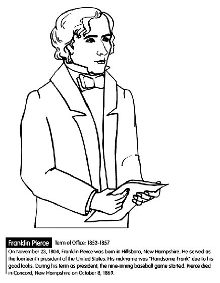 us president franklin pierce coloring page