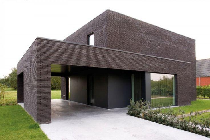 Architect_Berkein_Kijkwoning_Deerlijk_Huyzentruyt_modern_strak_bruin_gevelsteen_carport_overdekt_inkom_voorgevel.jpg 800×536 pixels