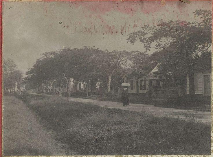 anoniem | Straat met huizen, attributed to Hendrik Dooyer, 1906 - 1913 | Gezicht op een straat met huizen (te Paramaribo?). Onderdeel van het fotoalbum Souvenir de Voyage (deel 1), over het leven van de familie Dooyer in en rond de plantage Ma Retraite in Suriname in de jaren 1906-1913.