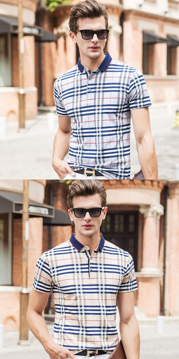 Polo Homme Men 2017 Summer Short Sleeve Plaid Tops Men Turn Down Collar Brand Clothing Men Plain Polo Shirts Plus Size M-3XL