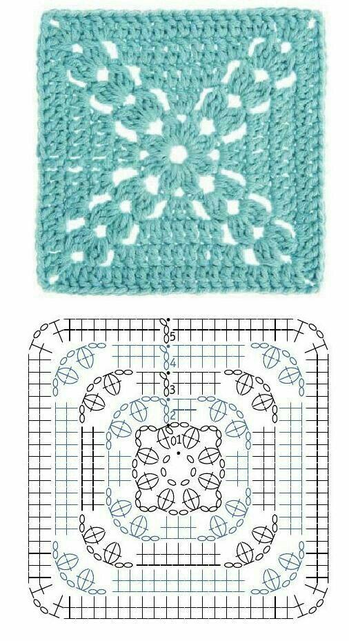 Crochet patrones o motivo cuadrado