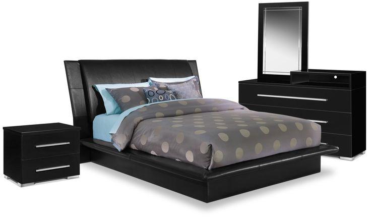 Dimora 6-Piece Queen Upholstered Bedroom Set With Media Dresser - Black