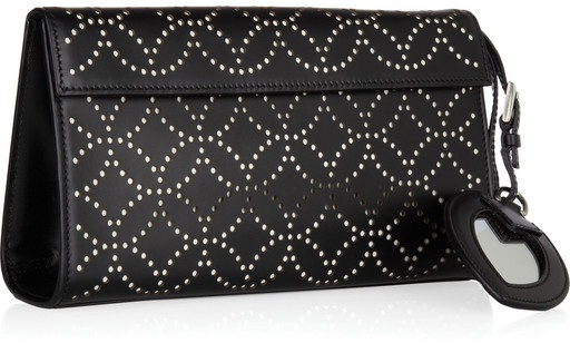 Alaia perforated learher clutch
