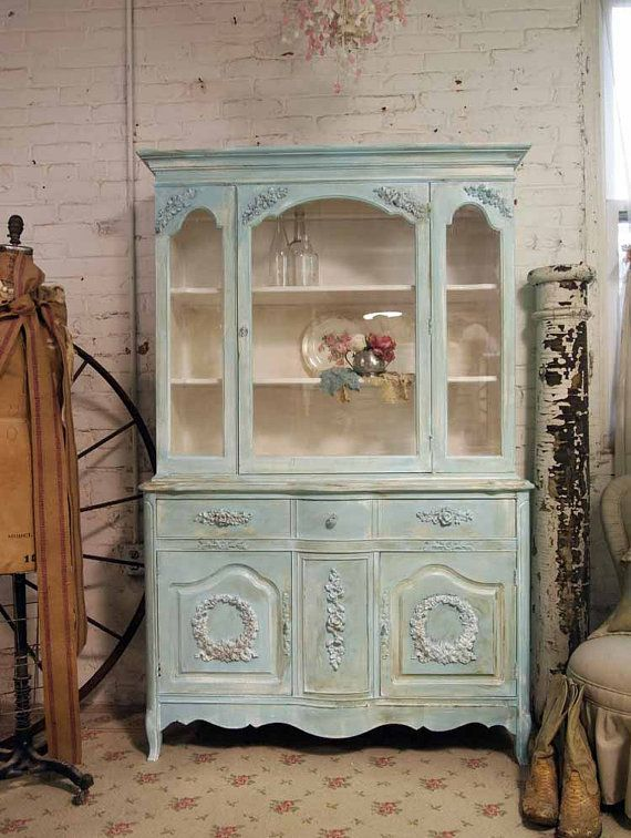Painted Cottage Shabby Aqua Chic China Cabinet CC262
