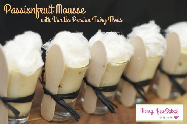Passionfruit Mousse with Vanilla Persian Fairy floss from Honey, You Baked!