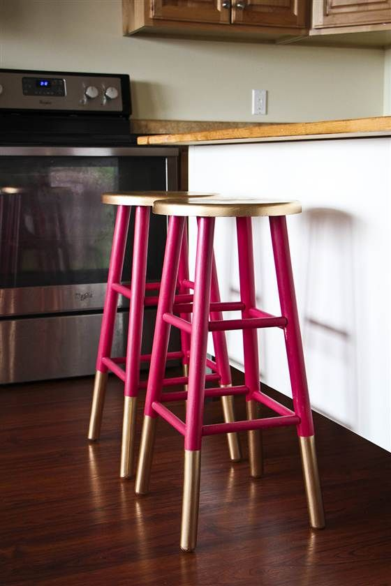 Go glam! 6 DIY projects for gold home decor: Gold-dipped bar stools