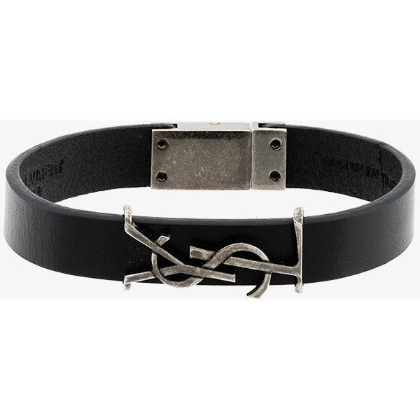 Saint Laurent monogram leather bracelet (290 CAD) ❤ liked on Polyvore featuring men's fashion, men's jewelry, men's bracelets, mens engraved bracelets, mens leather bracelets and mens engravable leather bracelets
