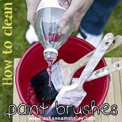 To soften paint brushes bring a pan of white vinegar to [a] boil on the [stove]. Once the water is boiling add the paint brushes. Allow [the] brushes to simmer for around 5 minutes. Remove from the pan and wash in hot soapy water. A super easy trick and best way to clean paint brushes! Thats all for today, Im off to paint something now!!!