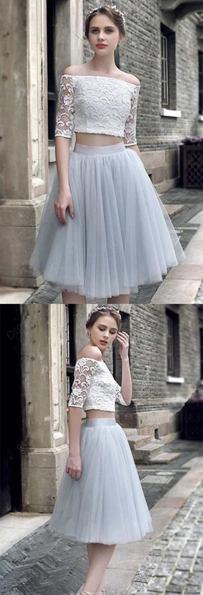 Two Pieces Half Sleeves Lace Homecoming Dresses Short Prom Dresses, SH26,homecoming Dresses,Prom Dresses Short,Cheap Homecoming Dresses on Line,Dresses for Girls, Graduation Dresses