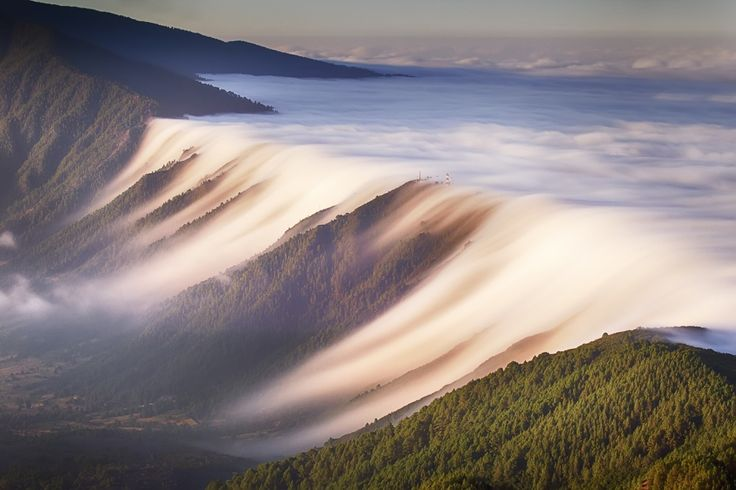 A Waterfall of Clouds on the Canary Islands - Colossal
