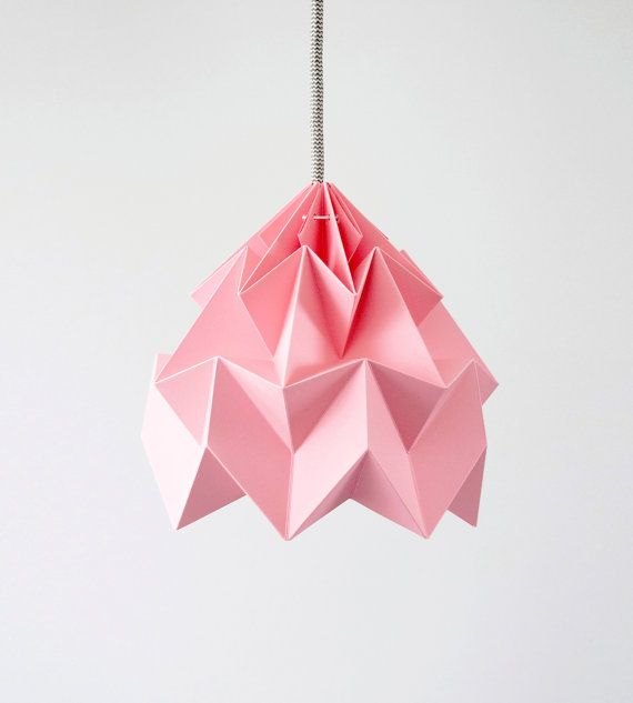 Moth origami lampshade pink on Etsy, $87.08 AUD