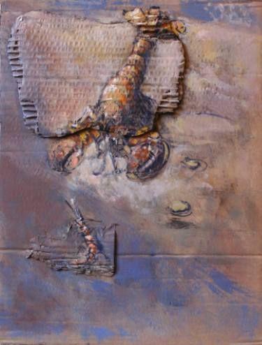 "Saatchi Art Artist simone Butturini; Collage, ""Lobster and little shrimp"" #art"