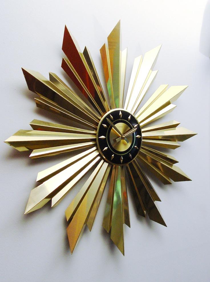 MidCentury Modern Golden Starburst Clock by Welby. Sunburst design,1960s  Hanging Wall Clock.