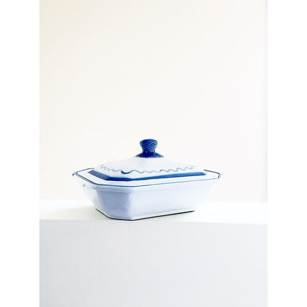 Klafrestrom Blue White Enameled Cast Iron Casserole Dish With Lid Made... (€35) ❤ liked on Polyvore featuring home, kitchen & dining, bakeware and lidded casserole dish