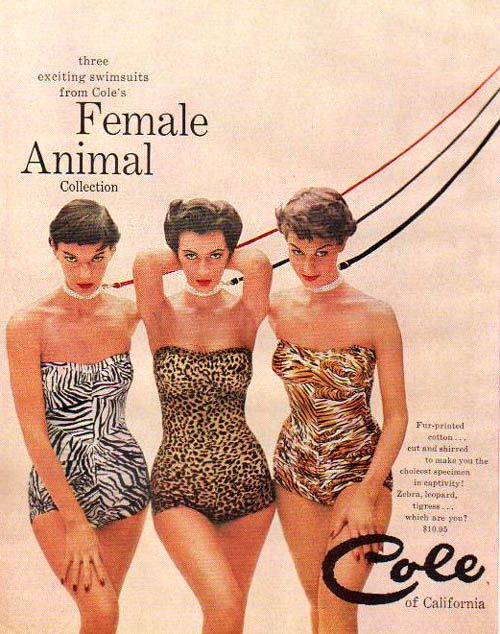 Advertisement for animal-print bathing suits by Cole of California, American, 1954.