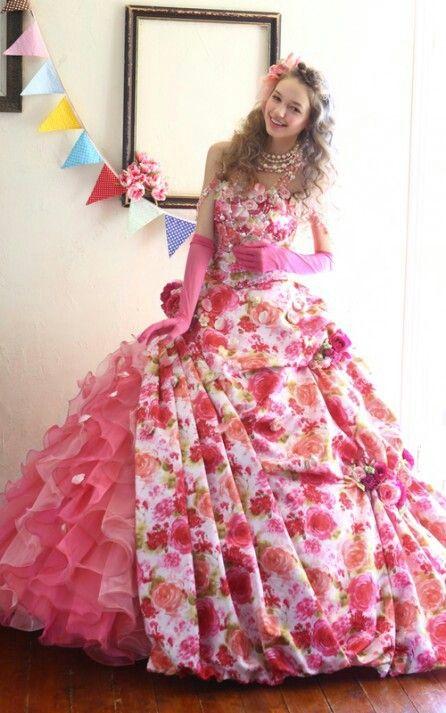 color dress 花柄 ピンク系