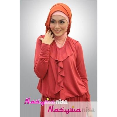 Model Baju Muslim Terbaru Queeny Merah Dusty Baju