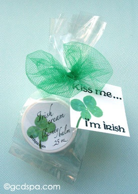 Irish theme favors for Blarney Balm. Bridal shower favors for St. Patrick's Day showers or #celtic themes.