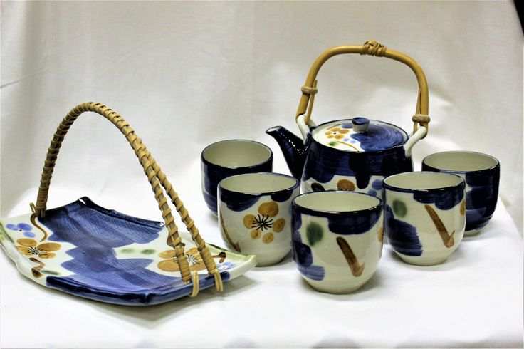 Vintage 8 Piece  Hand Painted Asian Saki Tea Set, Teapot With Lid & Bamboo Handle, 5 Cups, One Bambo Handled Serving Tray In New Condition by ShabbyCandleAntiques on Etsy