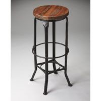 Furniture. Brown Wooden Round Seat On Black Iron Backless Bar Stool With Foot Rest As Well As Counter Stool Height Plus 30 In Bar Stools Swivel With Back. Astonishing Wooden And Metal Bar Stools For Mini Bar Concept Ideas