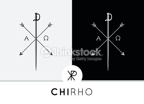 Conceptual Abstract Chi-Rho Symbol design with sword & arrows combined with Alpha & Omega signs. Chi-Rho symbolises the crucifixion of Jesus and his status as the Christ in the Christian faith....