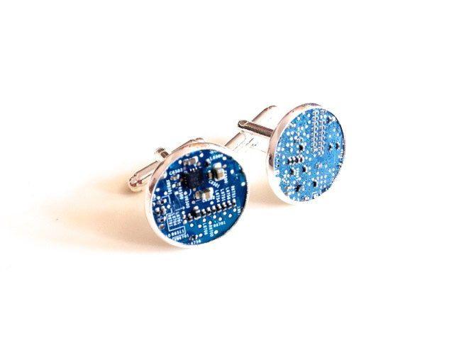 A personal favourite from my Etsy shop https://www.etsy.com/uk/listing/153745776/motherboard-cufflinks-geek-blue-silver  #cufflinks #motherboard #geek #computers #cyberpunk