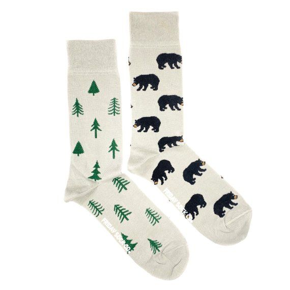 Mens Socks | Mismatched Socks | Bear | Fun Socks | Crazy Socks | Mismatched | Cool Socks | Groom Soc