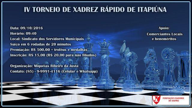 IV TORNEIO DE XADREZ RÁPIDO DE ITAPIÚNA - Xadrez Brasileiro